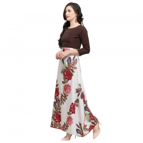 Brown And Off-white Crepe Printed  Gown