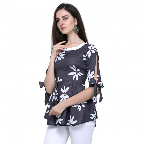 Casual Black Printed Top For Woman