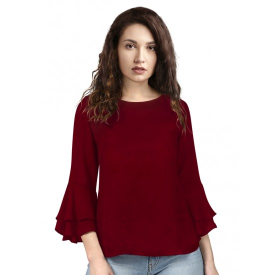 women Maroon tops Reyon Designer Top
