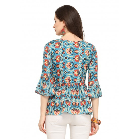Casual Bell Sleeve Printed Women Multicolor Top