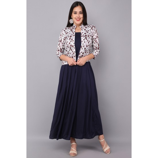 Women Gown  Navy Blue Color Reyon Gown With Printed Reyon Koti