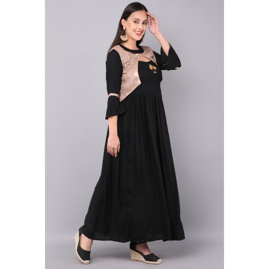 Black Color Rayon Printed koti With Gown  For Woman