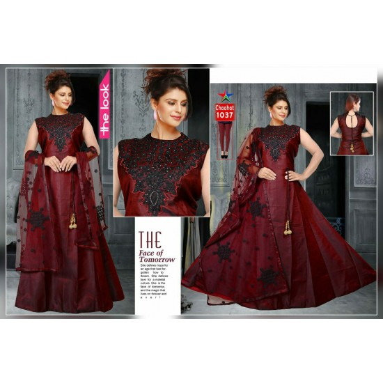 AMD Beautiful Ethnic Traditional Silk Gown For Ladies