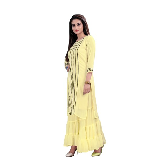 Yellow Georgette Kurta & Georgette Sharara suits